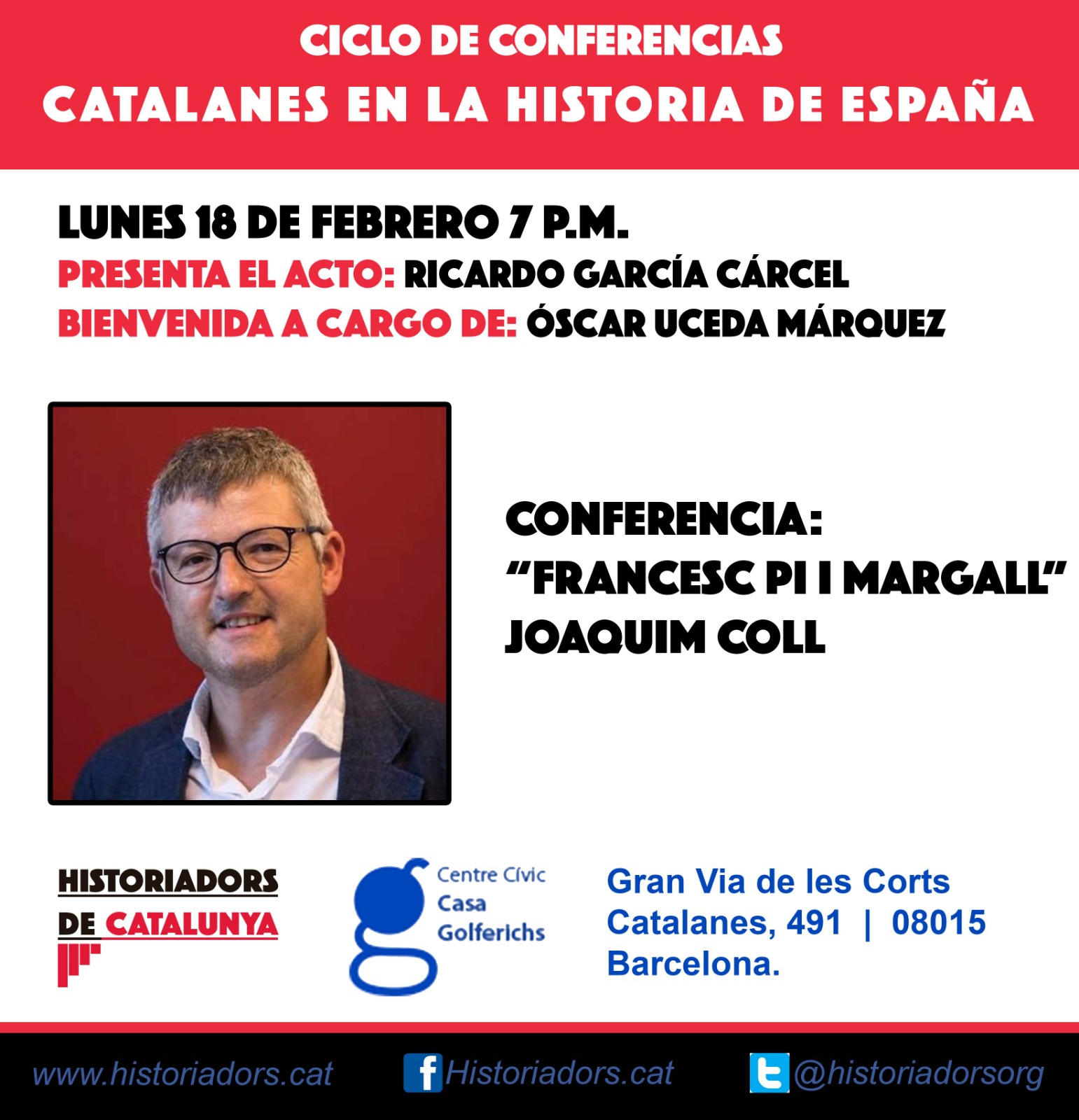 """Conferencia """"Francesc Pi i Margall"""" por Joaquim Coll"""