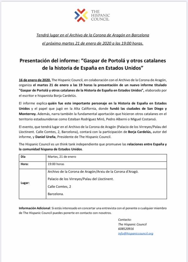 Gaspar de Portolà y otros catalanes de la Historia de España en los EE.UU.